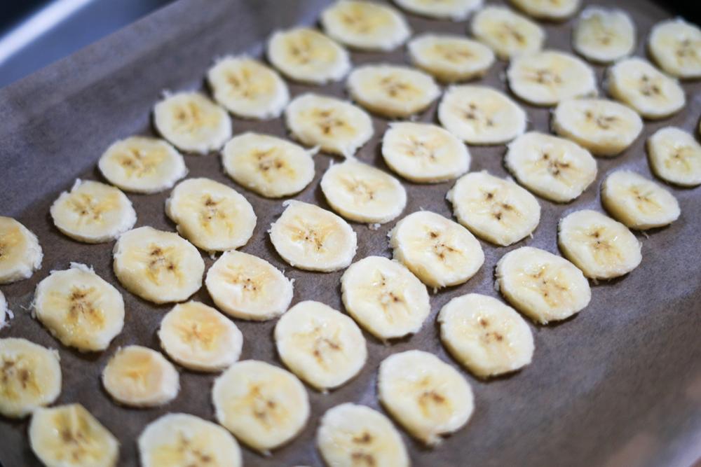 オーブンでドライバナナづくり
